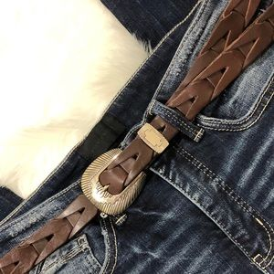 Mexican made brown leather woven belt size 38